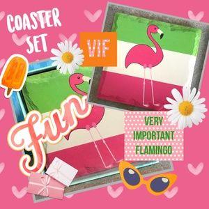 Flamingo Coaster Set